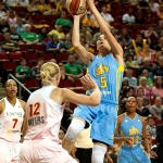 Sonja Petrovic #5 shoots a runner as Ann Wauters #12 late to close out. (WNBA: Seattle Storm 75 v Chicago Sky 60, Key Arena, Seattle, WA September 18, 2012)